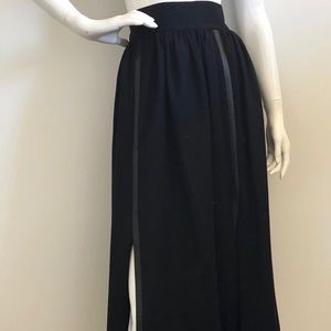VILSHENKO Skirt w/ Front Slit & Leather Detail